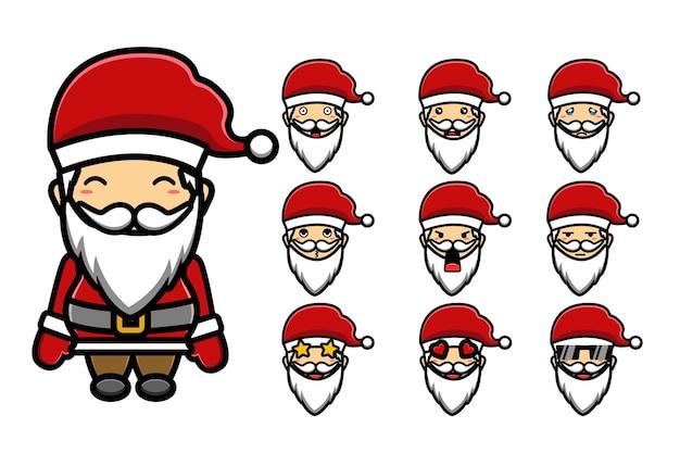 Süßer weihnachtsmann set maskottchen cartoon