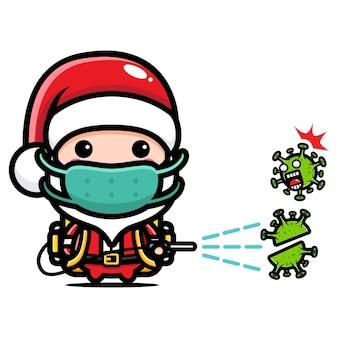 Süßer weihnachtsmann sprüht desinfektionsmittel