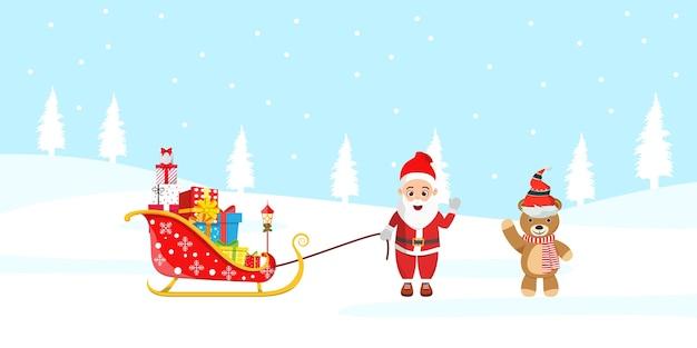 Süßer weihnachtsmann und sein schlitten und bär