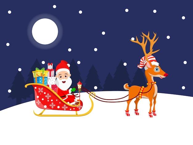 Süßer weihnachtsmann und sein schlitten und rentier