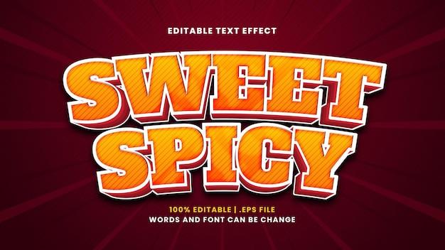 Süßer würziger bearbeitbarer texteffekt im modernen 3d-stil