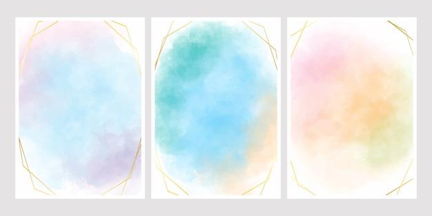 Süßer zuckerwatte-aquarellhintergrund mit goldenem rahmen für hochzeitseinladungskarte 5x7