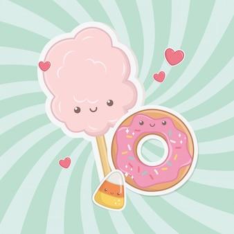 Süßer zuckerwatte und kawaii charaktere der süßigkeiten