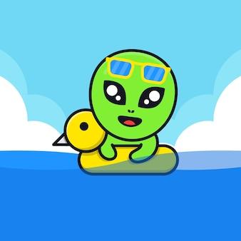 Süßes alien-schwimmen mit schwimmring-illustration
