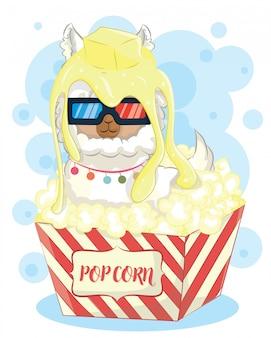 Süßes alpaka im popcorn mit 3d brille
