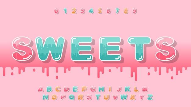Süßes alphabet im karikaturstil für kind