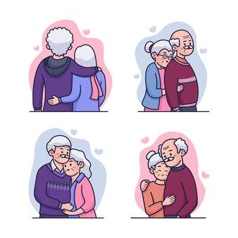 Süßes altes paar eingestellt