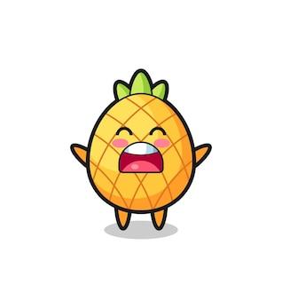 Süßes ananas-maskottchen mit einem gähnen-ausdruck, süßes stildesign für t-shirt, aufkleber, logo-element