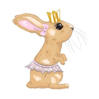 Süßes baby mädchen kaninchen prinzessin