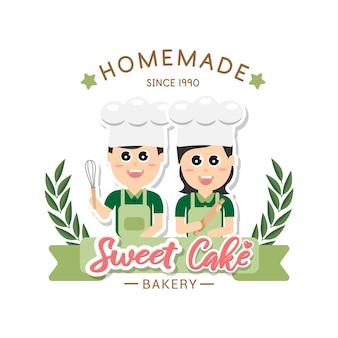 Süßes bäckerei- und brotetikettenentwurf für süßwarengeschäft