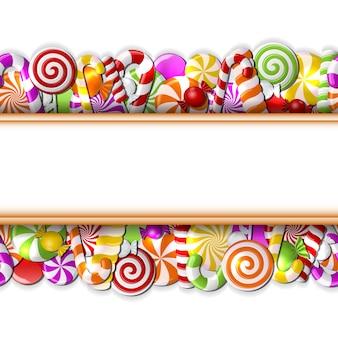 Süßes banner mit bunter bonbonillustration