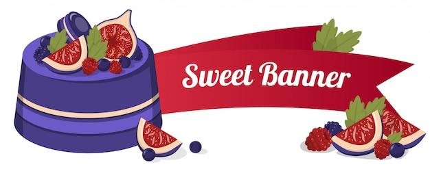 Süßes banner mit feigenkuchen, geschnittenem obst, beeren