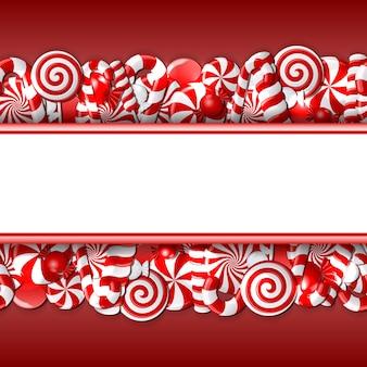 Süßes banner mit roten und weißen bonbons. nahtloses muster.