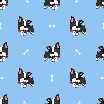 Süßes boston terrier welpen cartoon nahtloses muster
