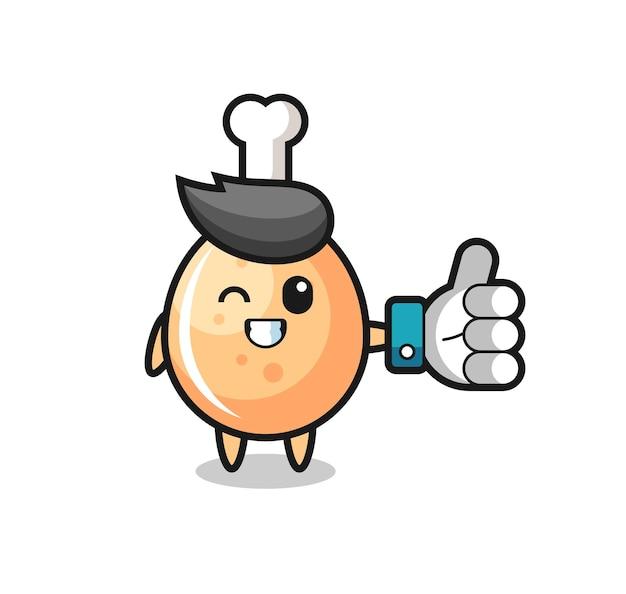 Süßes brathähnchen mit social-media-daumen hoch symbol, süßes design für t-shirt, aufkleber, logo-element