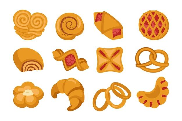 Süßes brötchen cartoon clipart set. backwaren und weidenbrötchen brezel, bagel, croissant blätterteig, brötchen