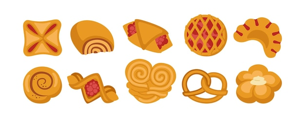Süßes brötchenkarikaturikonsatz. designmenü bäckereisymbol, marmeladenquast, brötchen backwaren und weidenbrezel, bagel, croissantgebäck, brötchen