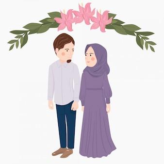 Süßes cartoon muslimisches paar