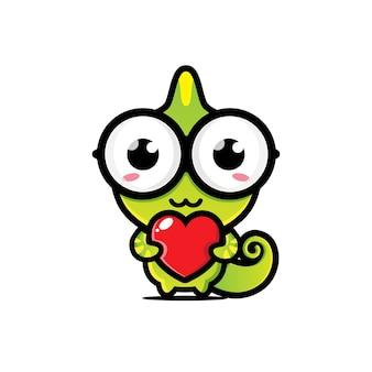 Süßes chamäleon, das liebesherz umarmt
