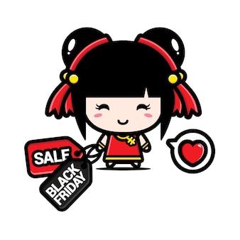 Süßes chinesisches mädchen mit schwarzem freitagsrabatt