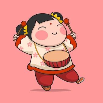 Süßes chinesisches neujahrsmädchen, das trommel spielt