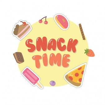 Süßes design mit verschiedenen snacks