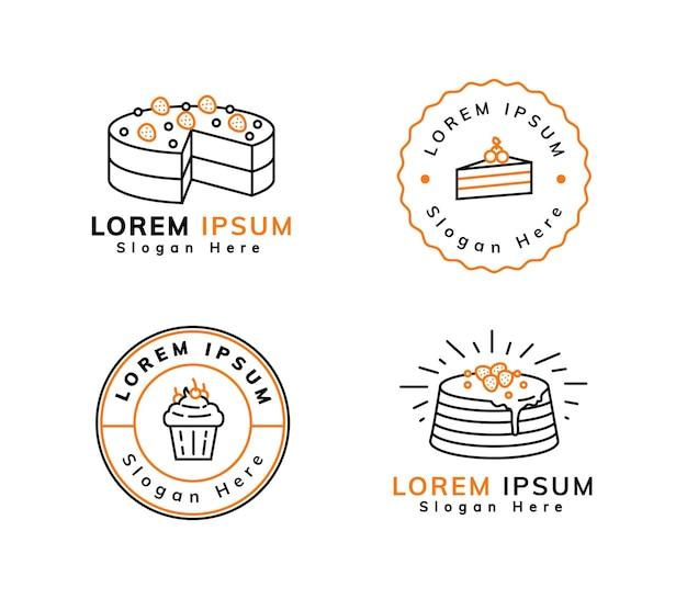 Süßes dessert-logo-design mit umriss