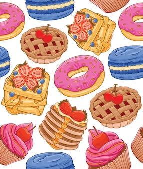 Süßes dessert nahtlose muster im flachen design-stil