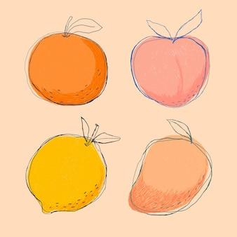 Süßes doodle-kunst-fruchtset