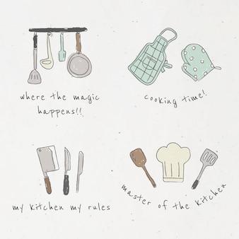 Süßes doodle-set für küchenutensilien