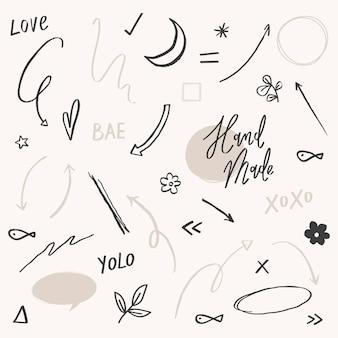 Süßes doodle-set in schwarz-grau-ton