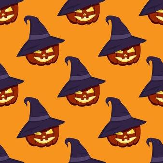 Süßes dunkles muster mit halloween-kürbissen