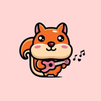 Süßes eichhörnchen, das die ukulele spielt