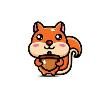 Süßes eichhörnchen, das eine walnuss umarmt