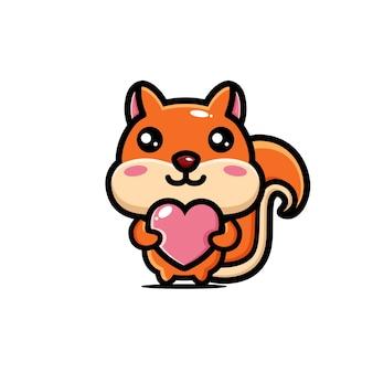 Süßes eichhörnchen, das liebesherz umarmt Premium Vektoren