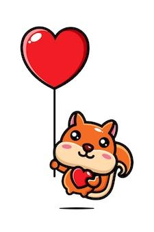Süßes eichhörnchen, das mit einem liebesballon fliegt