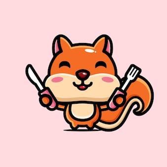 Süßes eichhörnchen macht sich bereit zu essen