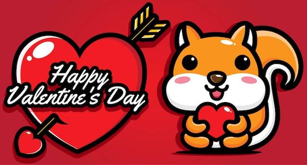 Süßes eichhörnchen mit glücklichem valentinstaggruß