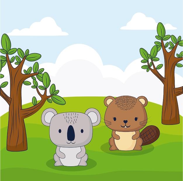 Süßes eichhörnchen und koala in einem wald