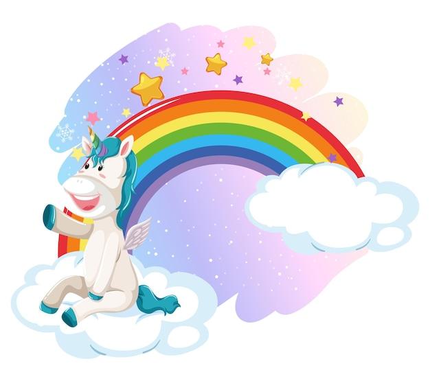 Süßes einhorn am pastellhimmel mit regenbogen