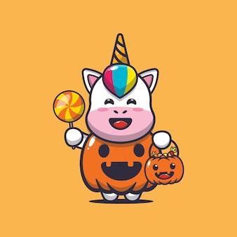 Süßes einhorn mit halloween-kürbis-kostüm süße halloween-cartoon-illustration