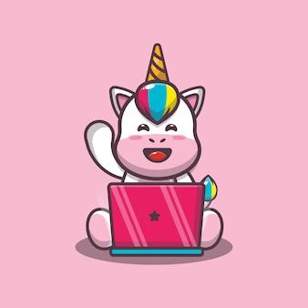 Süßes einhorn mit laptop-cartoon-vektor-illustration