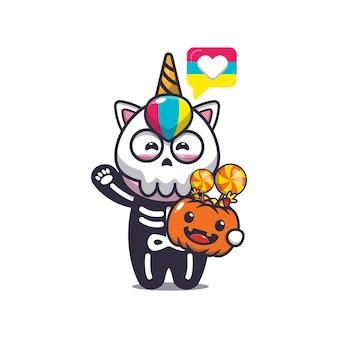 Süßes einhorn mit skelettkostüm mit halloween-kürbis süße halloween-karikaturillustration