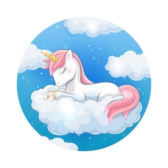 Süßes einhorn mit wolke