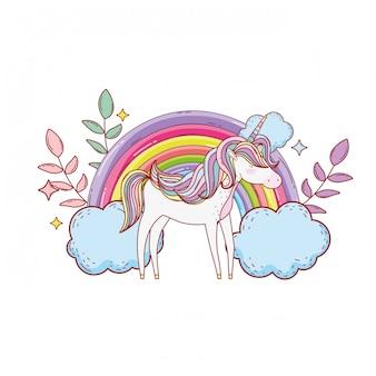 Süßes einhorn mit wolken und regenbogen