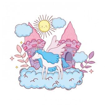 Süßes einhorn mit wolken und schloss