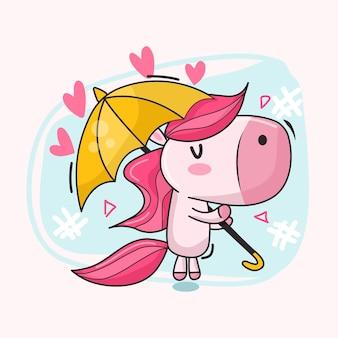 Süßes einhorn schwimmt mit regenschirm