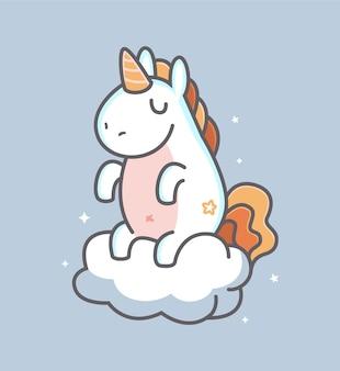 Süßes einhorn sitzt auf der wolke