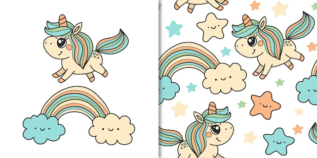 Süßes einhorn und regenbogen