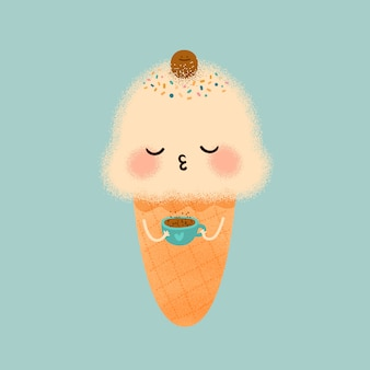 Süßes eis und kaffee